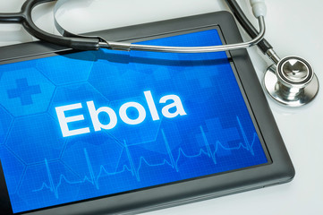 Tablet mit der Diagnose Ebola auf dem Display