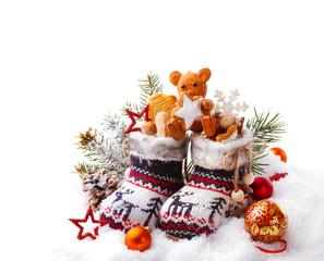 Nikolaus, Geschenke,  isoliert, weißer Hintergrund