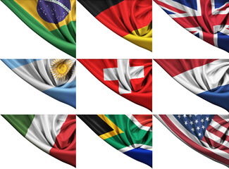 Set of different state flags including USA, UK, Germany, Italy,