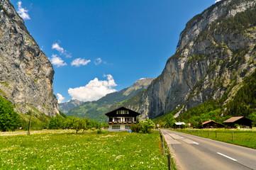 Mountain Road in Swiss Alps Valley, Jungfrau Region