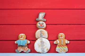 Funny gingerbread man kids with Snowman