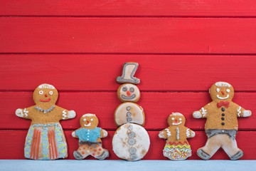 Happy Snowman and gingerbread man family
