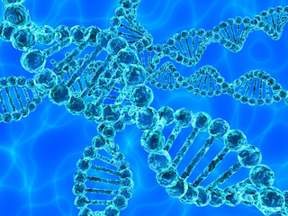 Blue DNA (deoxyribonucleic acid) on blue background