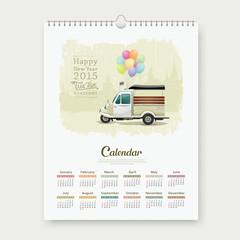 Calendar 2015 Vintage motor-tricycle Thailand