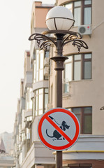 Prohibiting sign for dogs