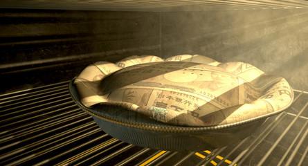 Japanese Yen Money Pie Baking In The Oven