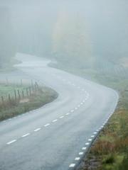 Curvy road in foggy weather