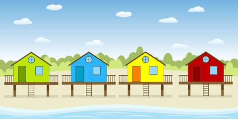 Bunte Häuser am Strand