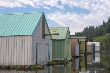 Closeup of boat garages.