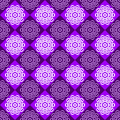 Seamless Pattern of Purple and Pink Rhombuses