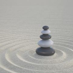 Dark and white zen stones on a wide sands