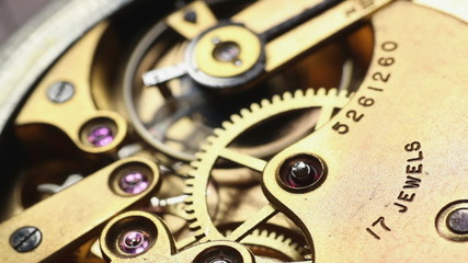 Mechanical watch movement macro video with sound