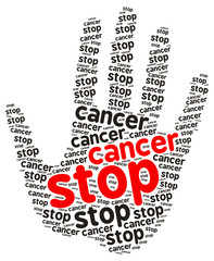 Stop Cancer word cloud in the shape of a palm