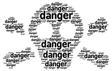 Danger text in a shape of a skull with crossed bones