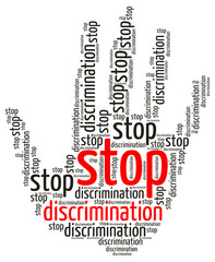 Stop Discrimination word cloud in the shape of a palm, isolated