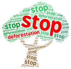 Stop deforestation word cloud in a shape of a tree