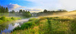 panorama of a summer landscape with sunrise, fog and the river - 71091307