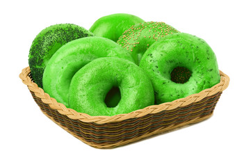 Six Green Bagels in a Basket