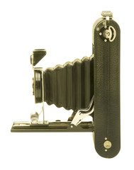Vintage folding bellows roll film camera in profile