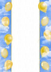 Golden balloons in sky border
