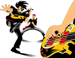 three rock guitar
