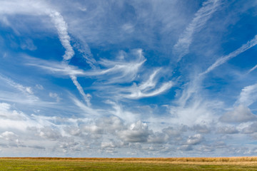 Cirrus clouds over meadows