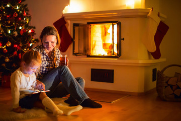 Family at home on winter