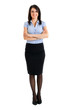 Smiling businesswoman full length isolated on white