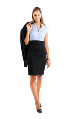 Smiling female manager full length on white background