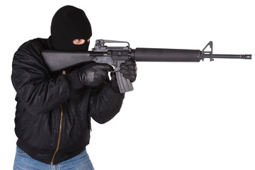 Robber with M16 rifle