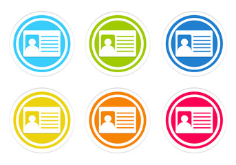 Set of rounded colorful icons with identification card symbol