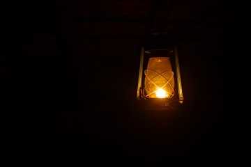 old lamp shine in the dark