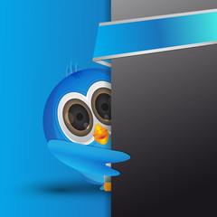 picking blue twiter bird