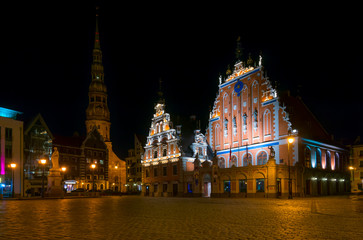 House of the Blackheads at night in Riga, Latvia