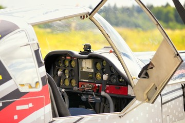 Control panel in the small cockpit of a microlight plane