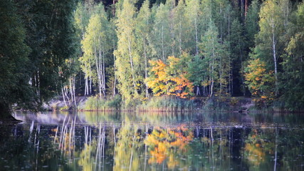 Surface of autumn lake with reflection of autumn foliage