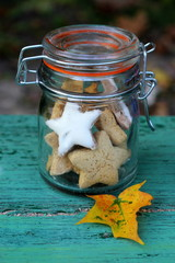 Autumn cookies in a retro glass jar