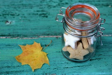 Autumn cookies in a retro glass jar