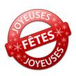 "Tampon ""Joyeuses Fêtes"" (noël joyeux bannière bouton)"
