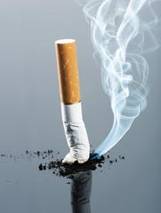 Cigarette butt with smoke