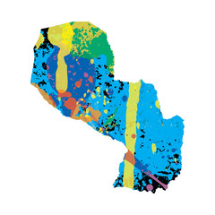 Illustration of a colourfully filled outline of Paraguay