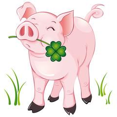 freches Glücksschweinchen mit Glücksklee