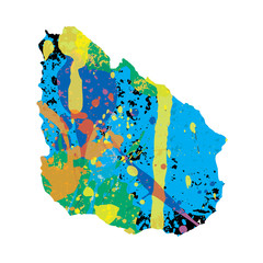 Illustration of a colourfully filled outline of Uruguay