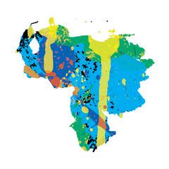 Illustration of a colourfully filled outline of Venezuela