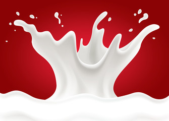 red background with milk splash shape heart