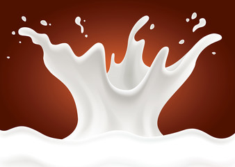 chocolate background with milk splash
