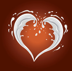 chocolate background with milk splash shape heart