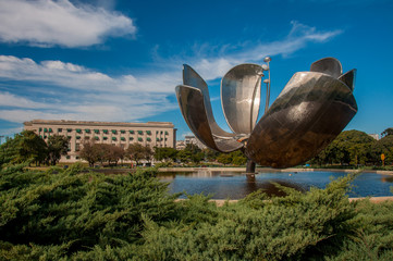 Giant flower (Floralis Generica) in Buenos Aires, Argentina