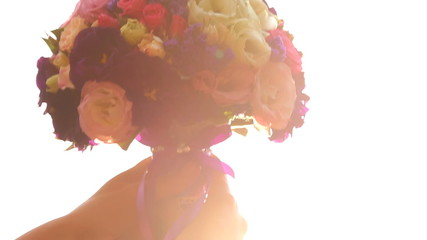 Bridal bouquet in the sunshine.