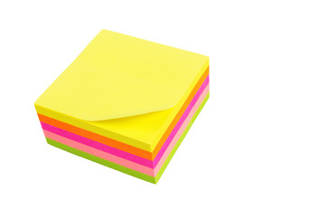 five color block of post-it notes isolated on white background